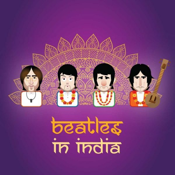 Beatles in India emoji, illustration GOTO Creative