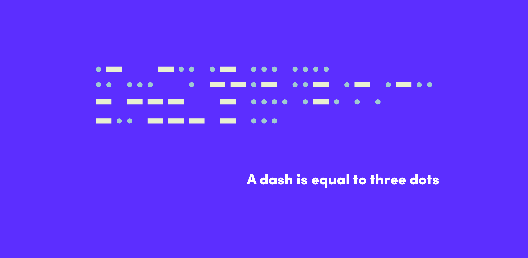 a dash is equal to three dots