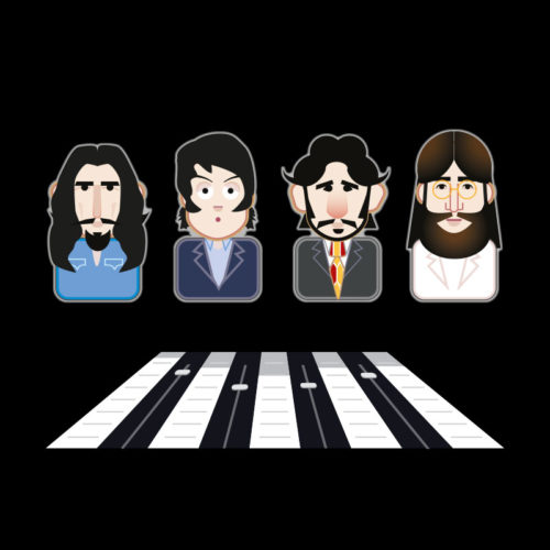beatles emoji abbey road crossing illustration stockport